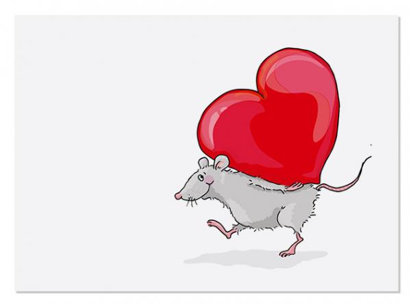 Krima & Isa Postkarte Valentinsmaus