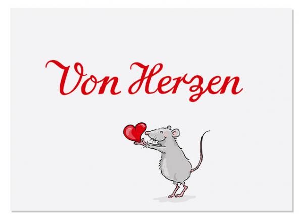 Krima & Isa Postkarte Von Herzen Maus