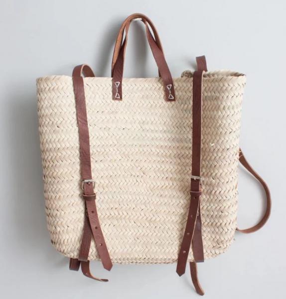 Rucksack aus Palmblatt mit Leder, handgewebt