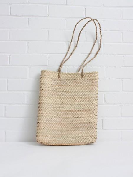 Korbtasche mit langen Henkeln, Palmblatt - handgewebt
