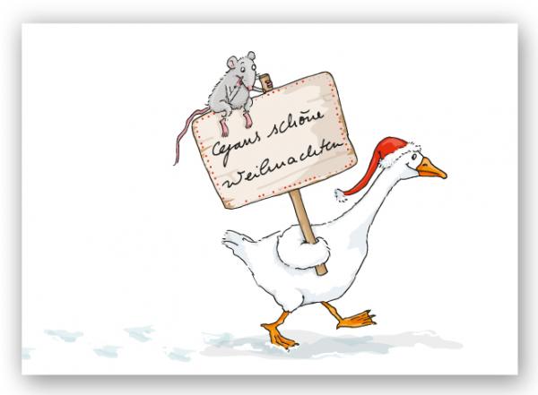 Krima & Isa Postkarte Gans weihnachtlich