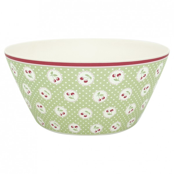 GreenGate Bambus Bowl / Schale Cherry Berry Pale Green, xlarge