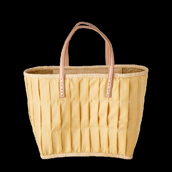 Rice Korb/Einkaufstasche, Vichy-Karo Gelb mit Ledergriffen, medium