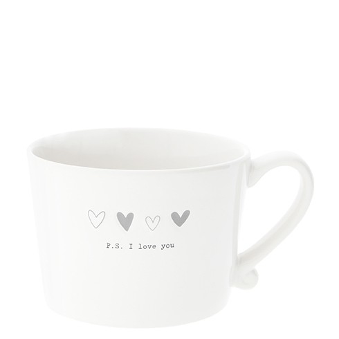 Bastion Collections Cup White / Hearts Grey & P.S. I love you