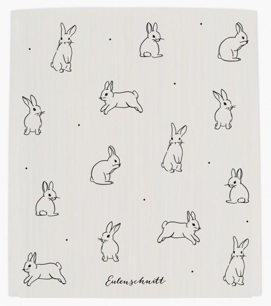 Eulenschnitt Schwammtuch Kaninchen, 3er Set