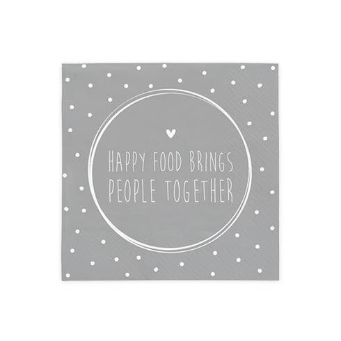 Bastion Collections Kleine Papierservietten Happy Food brings People together