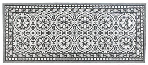 Teppich / Fussmatte in Zementfliesenoptik Grau, 50 x 120 cm