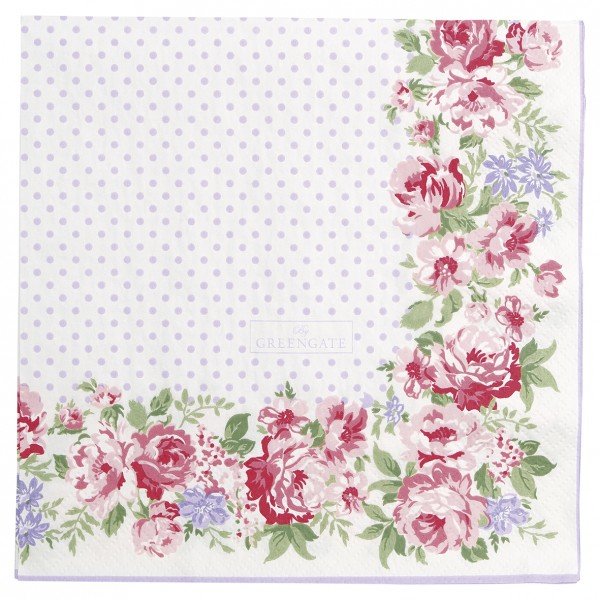 GreenGate Papierserviette Rose white