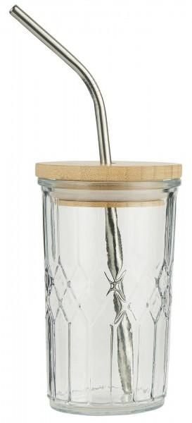 Ib Laursen Trinkglas mit Holzdeckel, Edelstahlstrohalm