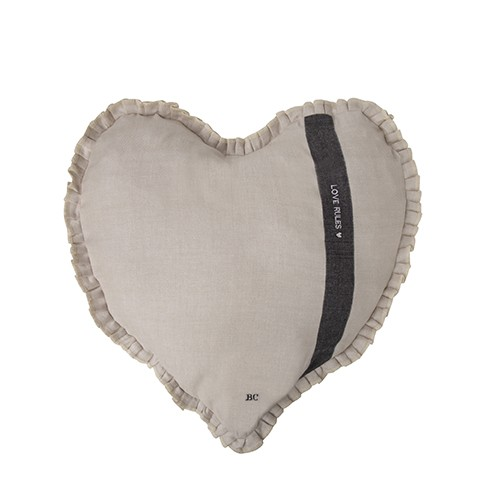Bastion Collections Kissen Heart Natural Chambray Love Rules