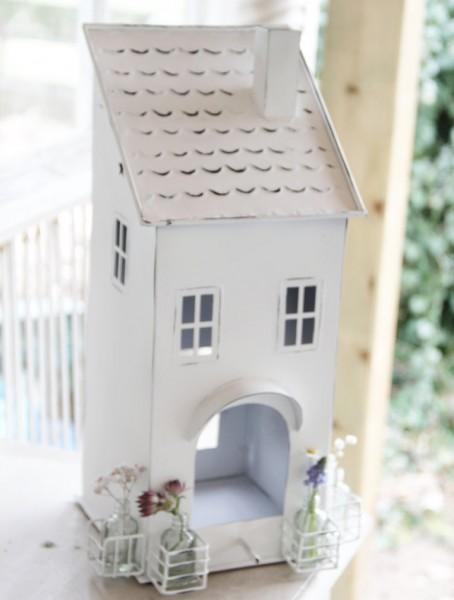 """Lichthaus aus Metall """"Vogelhaus"""" mit 4 Fläschchen"""