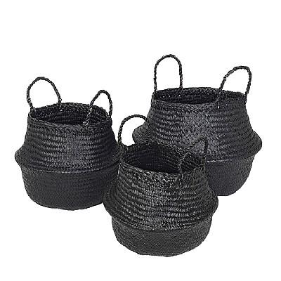 Broste CPH, Korb aus Seegras, schwarz