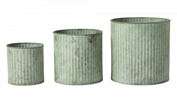 Zinktopf mit Rillen (3) grün patiniert