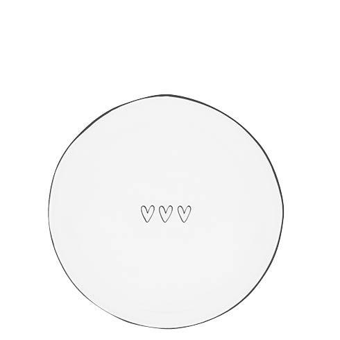 Bastion Collections Teller / Dessert Plate white/3 Heart in black