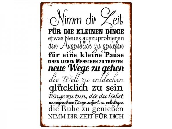 "Metallschild ""Nimm dir Zeit"""