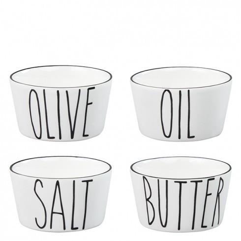 """Bastion Collections Bowls """"Salt/Butter/Olive/Oil"""" im 4er Set"""