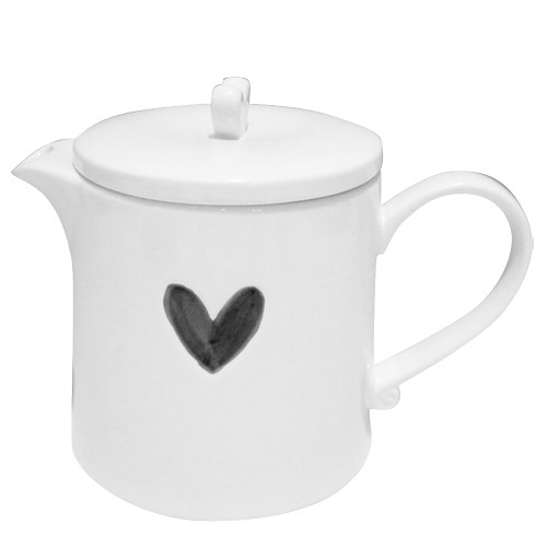 Bastion Collections Teekanne / Teapot White w. Heart in Black