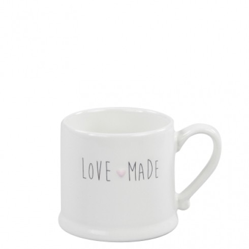 Bastion Collections Mug Small White/love made in black & heart rose