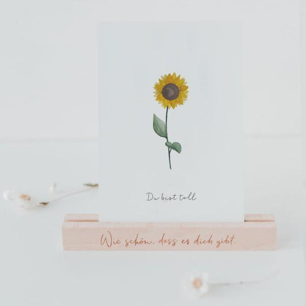 Eulenschnitt Postkarte Dankeskarte, Sonnenblume