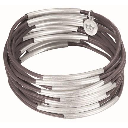 Sence Copenhagen Armband Urban Gipsy, dark grey worn silver, 3teilig