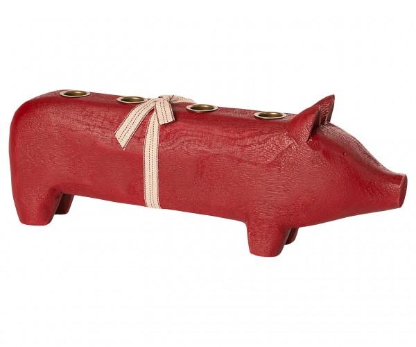 """Maileg, Advent Schwein """"Wooden pig, Red, Large 2020"""" für 4 Kerzen"""