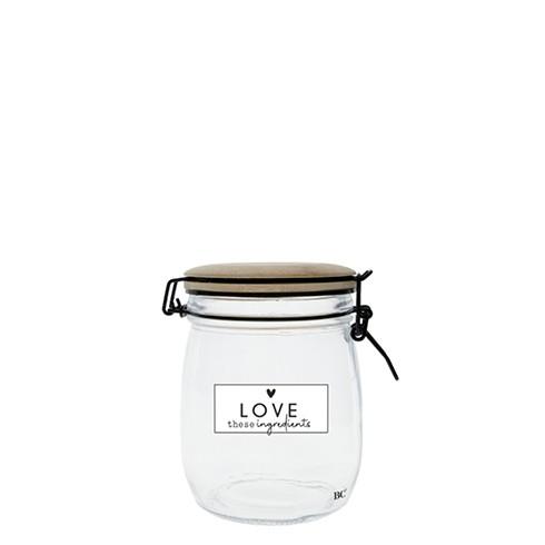 Bastion Collections Vorratsglas mit Holzdeckel Love, medium