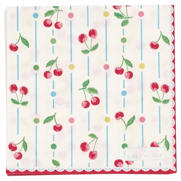 GreenGate Kleine Papierserviette Cherry White