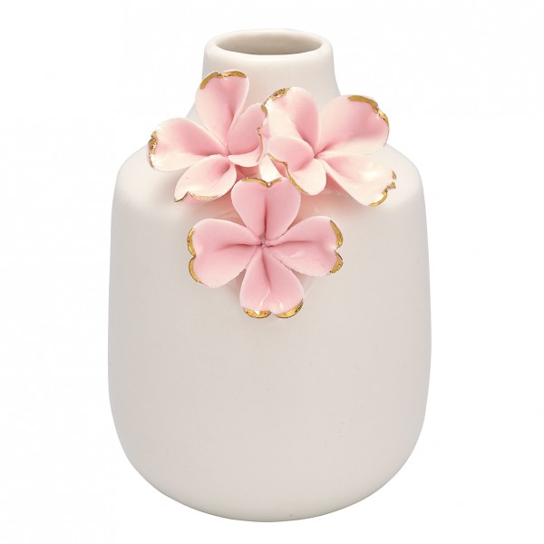 Greengate Vase Flower pale pink w/gold, small