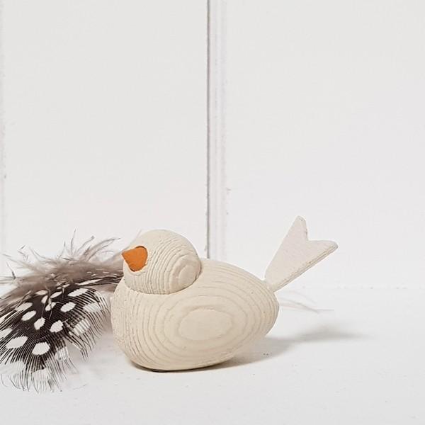 Holzvogel Klein, weiß