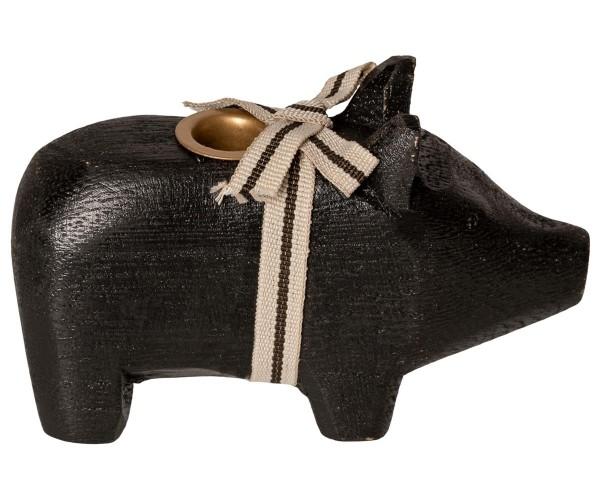 """Maileg, Schweinchen """"Wooden pig, Black, Small"""" für Kerze"""