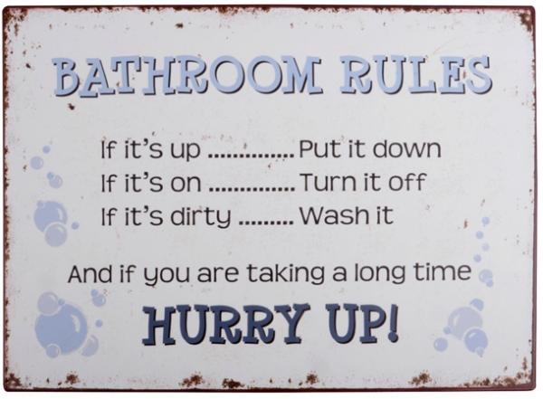 "Ib Laursen Metallschild ""Bathroom Rules"""