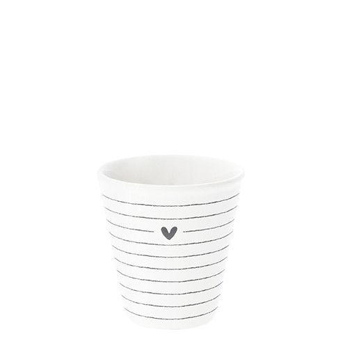 Bastion Collections Espresso Paperlook White / Stripes & Heart in Black
