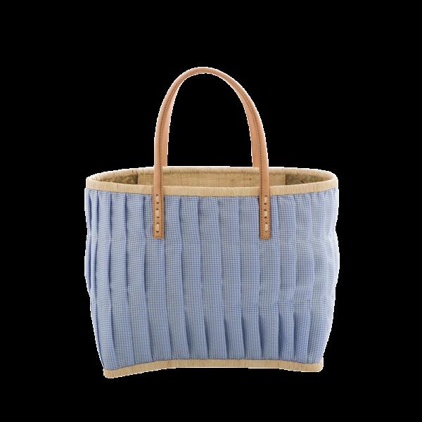 Rice Korb/Einkaufstasche, Vichy-Karo Blau mit Ledergriffen, medium