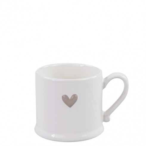 Bastion Collections Mug Small White/Titane heart in relief