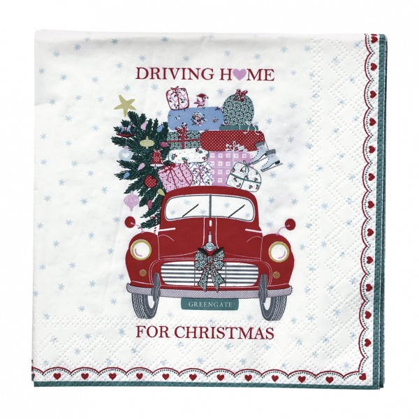 GreenGate Kleine Papierserviette Christmas Car Red