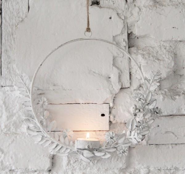 Metallring/-kreis mit Teelichthalter Blütenhalbkreis, klein