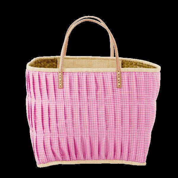 Rice Korb/Einkaufstasche, Vichy-Karo Pink mit Ledergriffen, medium
