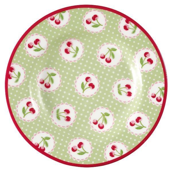 GreenGate Kleiner Teller Cherry Berry Pale Green
