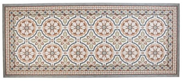 Teppich / Fussmatte in Zementfliesenoptik Braun, 50 x 140 cm