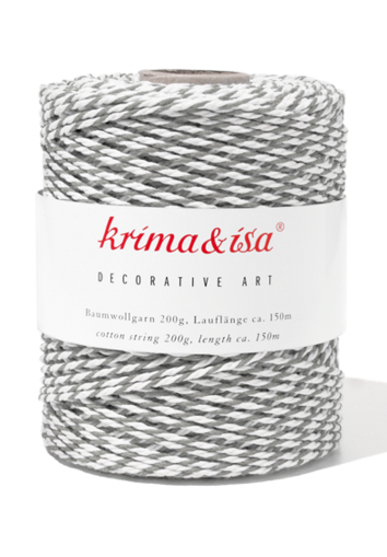 Krima & Isa Bäcker-Garn/Kordel, grau/weiß
