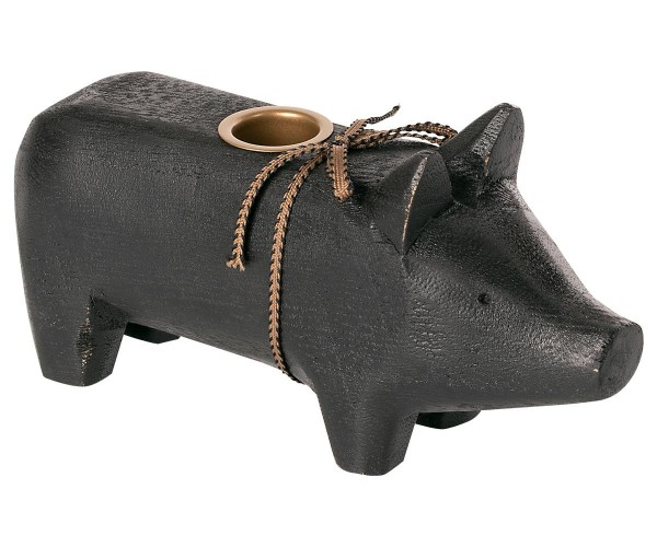 """Maileg, Schweinchen """"Wooden pig, Black, Medium 2020"""" für Kerze"""