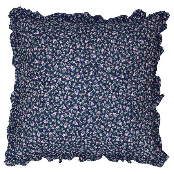 GreenGate Kissenhülle Berta Dark Blue w frill, 50 x 50 cm