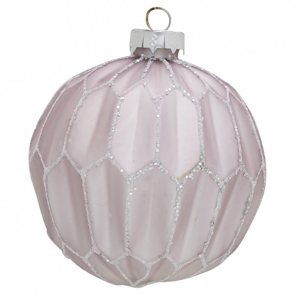 Greengate XMas Ball Glass Penelope Lavender Glitter, large