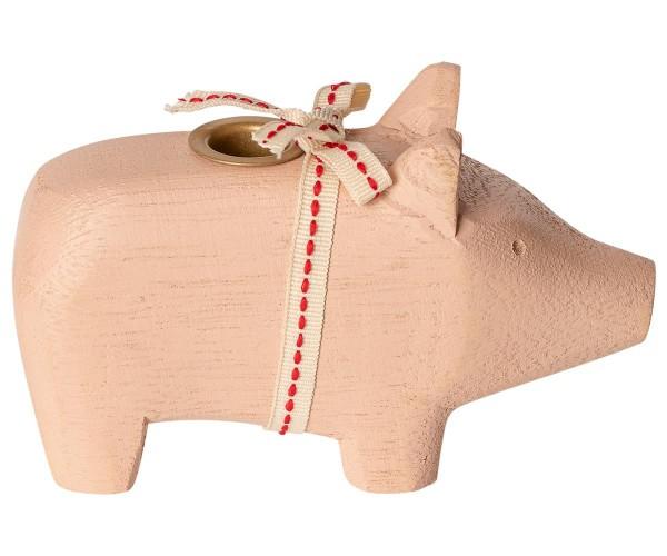 """Maileg, Schweinchen """"Wooden pig, Powder"""" für Kerze"""