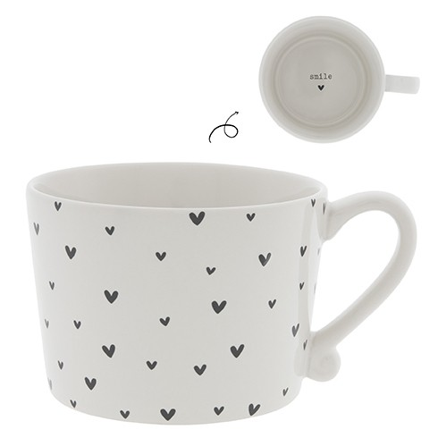 Bastion Collections Cup White / Little Hearts in Black