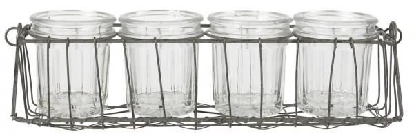 Ib Laursen Adventskerzenhalter mit Glaseinsatz für 4 Teelichter