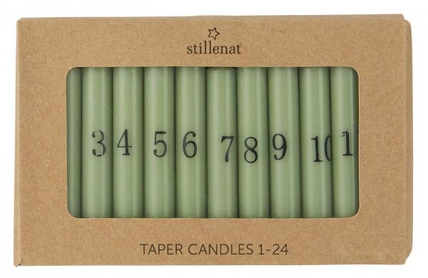 Ib Laursen Tannenbaumkerzen grün mit Zahlen 1-24