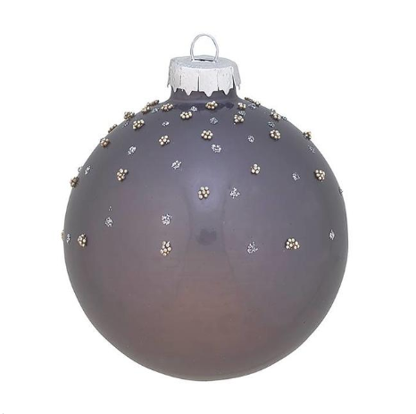 Greengate XMas Ball Glass Josephine Grey w/Glitter