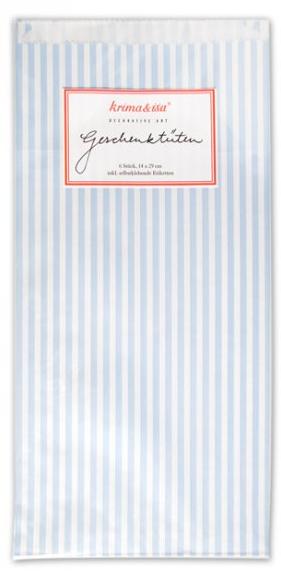 """Krima & Isa, Geschenktüten """"Streifen"""" blau, 6 Stück"""