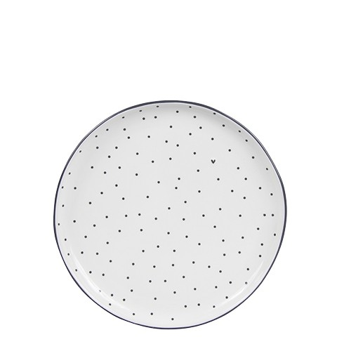 Bastion Collections Teller / Cake Plate Little Dots & Heart in Black